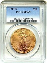Wow 1914-D Saint Gaudens $20 PCGS MS65+