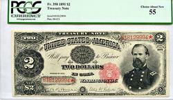 Rare 1891 $2 Treasury FR 358 PCGS 55