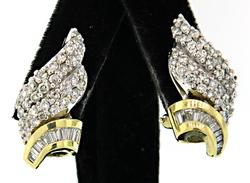Diamond Swirl Earrings with Baguettes and Rounds in 18K