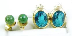 2 Pairs of 14K Gold Gemstone Earrings