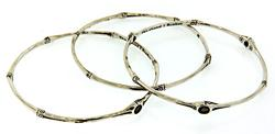 Set of 3 John Hardy Bamboo Bangles w/Smokey Quartz
