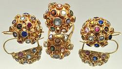 Vintage 18kt Gold Dome Style Ring & Earring Set
