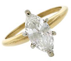 Wonderful Marquise Diamond Solitaire Ring, 14k