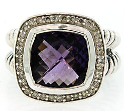 David Yurman Albion Ring in Amethyst with Diamonds