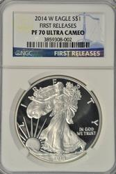 FIRST RELEASES 2014-W PRF $1 Eagle NGC PF70 Ultra Cameo