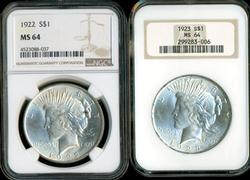Near Gem BU 1922 & 1923 Peace Silver Dollars. NGC MS64