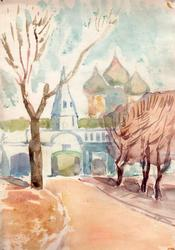 Road to Faith, Watercolor on Paper by Y.S. Gurov