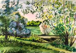 Original Blooming Glade Landscape Watercolor on Paper