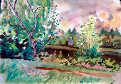 Nice Cloudy Day Landscape Watercolor on Paper