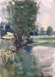 The Pond, Watercolor on Paper