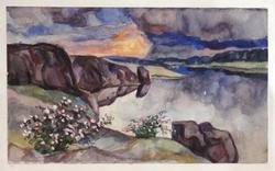 Blooms at Sunset, Watercolor on Paper by V.I. Kofanov