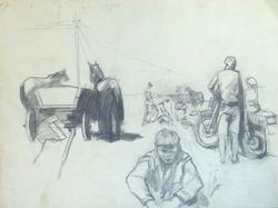Horses and Carts, Pencil on Paper by M.V. Nadezhdin