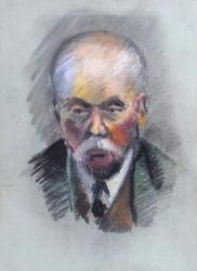 Portrait of a Man, Colored Pencils on Paper