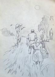 When the Day is Done, Pencil on Paper