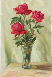 Three Red Roses, Oil on Canvas