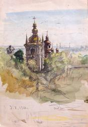 Old Orthodox Church, Watercolor on Paper