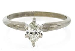 White Gold Marquise Diamond Solitaire Ring