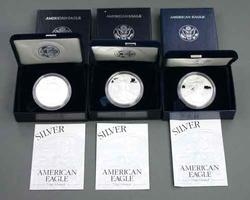 1997 1998 & 2003 Proof Silver Eagles with boxs and papers
