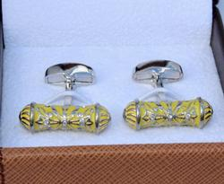 Classy Silver & Yellow Color Cylinder Cuff Links