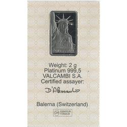 Credit Suisse 2 Gram Platinum Bar Statue Of Liberty