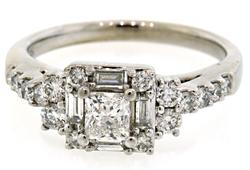 Multi Diamond Cluster Engagement Ring