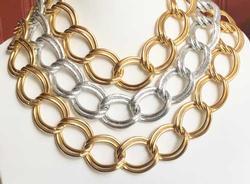 Ravishing, Heavy, Chunky, Gold & Silver Toned, Chain Choker Necklace