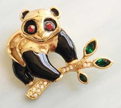 Enchanting, Black Enamel & Gold Plated 'Panda Bear' Pin
