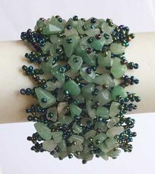 Amazing, Wide, 'Aventurine' & Hand Sewn Seed Bead Bracelet