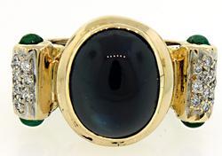 Etruscan Style Sapphire, Diamond & Onyx Ring