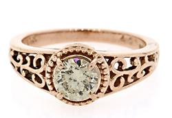 Rose Gold Filigree Ring with Diamond Solitaire