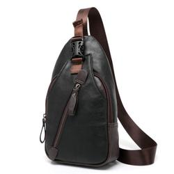 Black Leather Chest or Shoulder Sling Bag