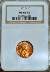 1933-D Lincoln Wheat Cent in MS66RD