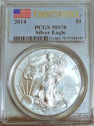 2014 BU Silver Eagle in PCGS MS70