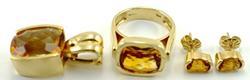 Amazing Citrine Ring, Pendant & Earrings Set, 14k