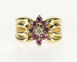 Ruby and Diamond Kite Cluster Grooved Ring