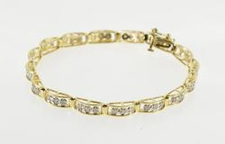 10K Yellow Gold 1.00 Ctw Diamond Inset Curved Bar Link Tennis Bracelet