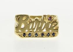 Sapphire Inset Barbie Doll Cursive Ring