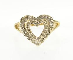 Diamond Inset Tiered Heart Cut Out Love Symbol Ring