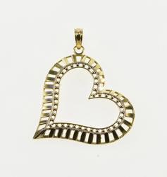 Gold Banded Dot Trim Design Heart Cut Out Pendant