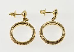 Ornate Scroll Patterned Ring Dangle Post Back Earrings