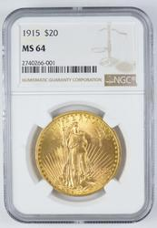 1915 $20 MS-64 St. Guadens