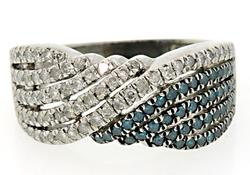 Teal & White Diamond Multi Row Band in Sterling