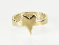 18K Yellow Gold Heart Love Symbol Wife Romantic Inscribed Ring