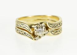 14K Yellow Gold 0.15 Ctw Retro Diamond Bridal Set Engagement Ring