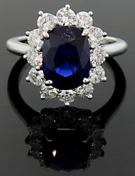 Irresistible Sapphire &Diamond Ring at 4.26CTW Platinum