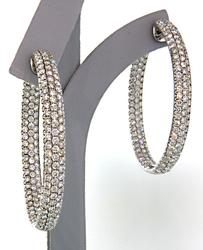 Absolutely Stunning 10ctw Diamond Hoop Earrings