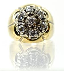 Traditional 14K Man's Diamond Cluster Ring