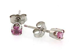 White Gold Colorful Pink Sapphire Stud Earrings