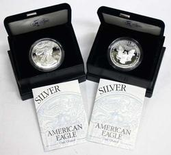 2 Frosty Gem 2000 Proof Silver Eagles with Boxs & Papers