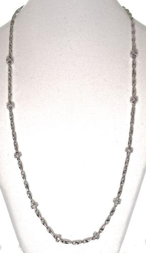 14K White Gold Necklace with Diamond Rondells
